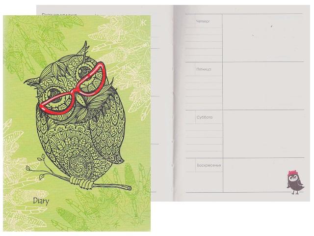 Ежедневник А6 прорезиненая/обл 128л Всюду совы зеленый 51912803