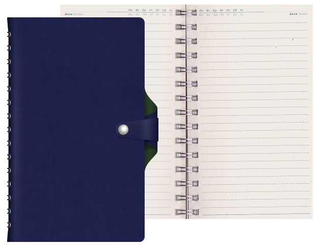 Ежедневник А5 кожзам 128л Hatber Vivella Bicolour синий на спирали 128Ед5_04747