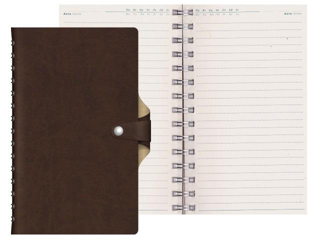 Ежедневник А5 кожзам 128л Vivella Bicolour коричневый на спирали Hatber 128Ед5_04750