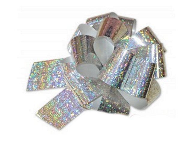 Бант-шар подарочный 20мм Голография серебряный Miland БЛ-8012