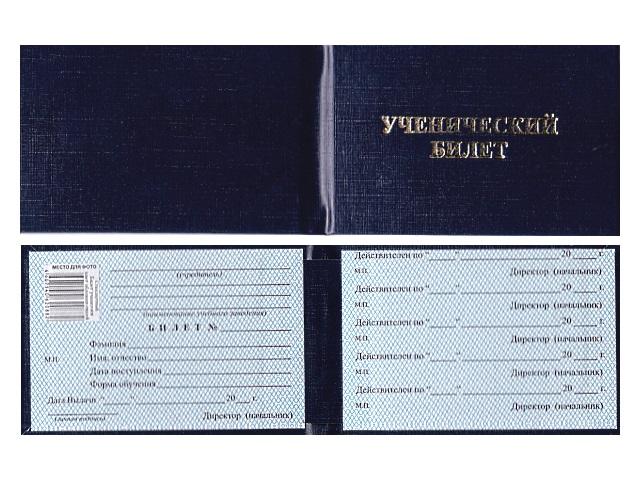 Ученический билет бумвинил синий Имидж УЧБ-203