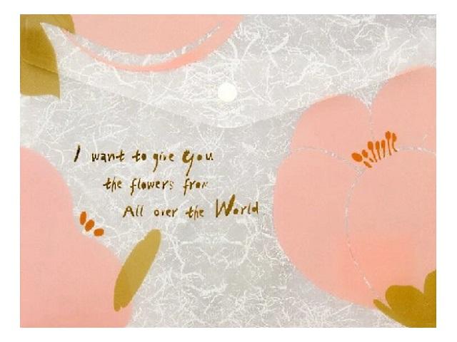 Папка конверт на кнопке А4 Axent розовая Fleur 180 мкм 1495-10-A