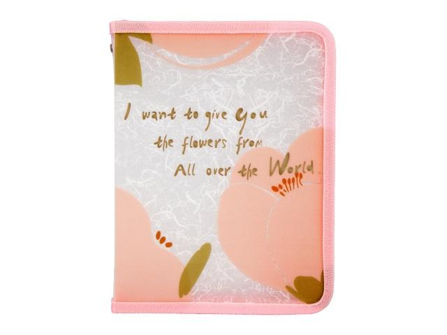 Папка на молнии А5 Axent Fleur розовая 1805-10-A