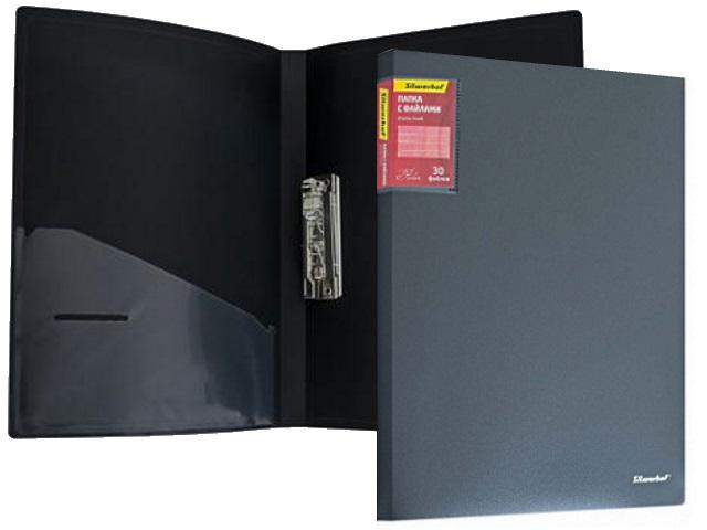 Папка с зажимом и карманом А4 серая 0.7мм Perlen Silwerhof 281905-76