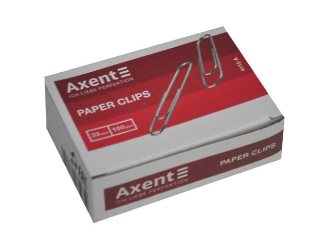 Скрепки Axent 33мм 100шт никелированные 4112-A