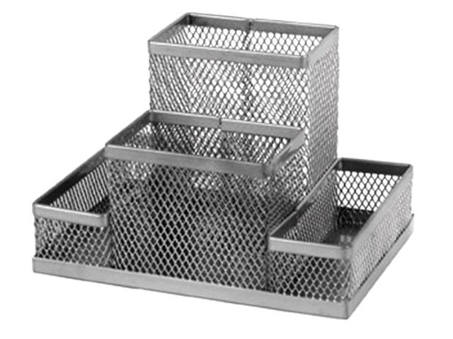 Подставка-органайзер Axent 4 отделения металл сетка серая 2117-03-A