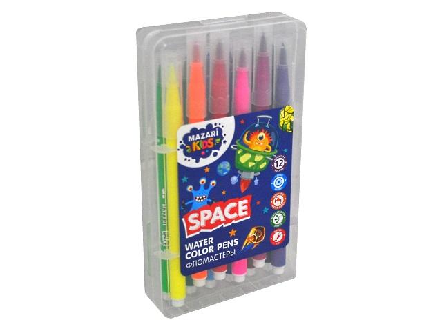 Фломастеры 12цв Mazari Space с кистью M-5079-12