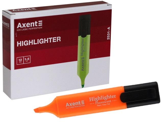 Маркер текстовый Axent Highlighter оранжевый скошенный 1-5мм 2531-A