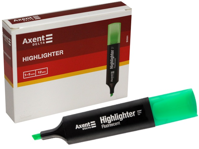 Маркер текстовый Axent Highlighter зеленый скошенный 1-5мм D2501-04