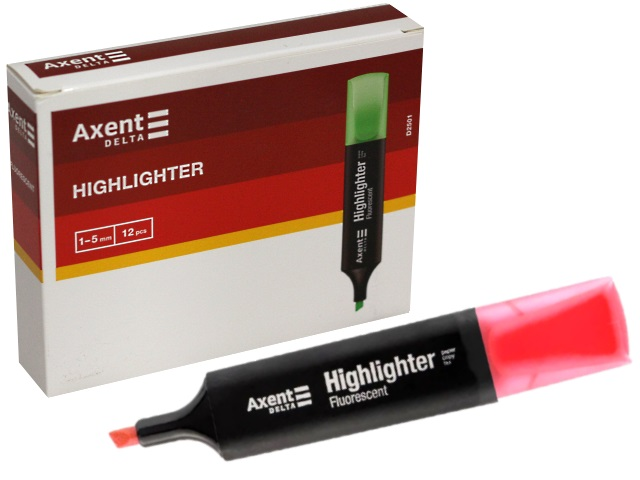 Маркер текстовый Axent Highlighter розовый скошенный 1-5мм D2501-10