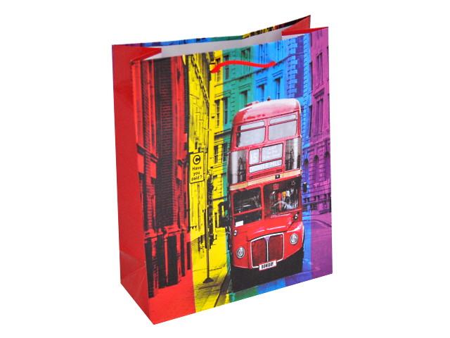 Пакет подарочный бумажный 18*23* 8см Двухэтажный автобус Miland ПКП-2885