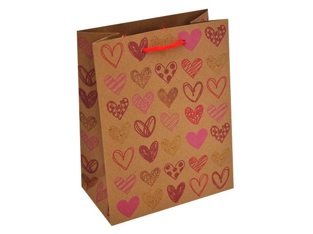 Пакет подарочный бумажный 18*23*10см Цветные сердечки крафт Miland ПКП-0890