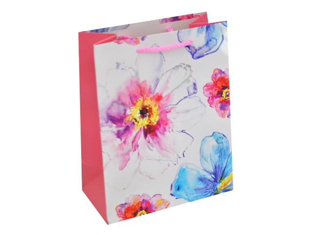 Пакет подарочный бумажный 26*33*14см Акварельные цветы Miland ПКП-1298