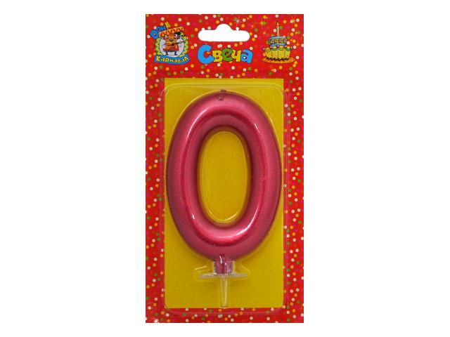 Свеча для торта Красный металлик Цифра 0 Miland С-1852