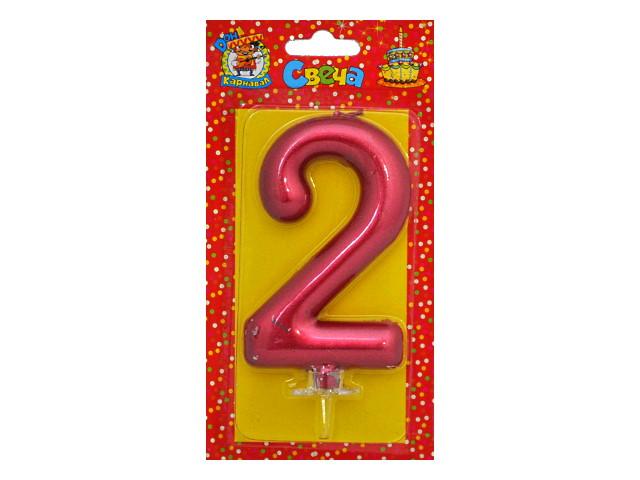 Свеча для торта Красный металлик Цифра 2 Miland С-1854