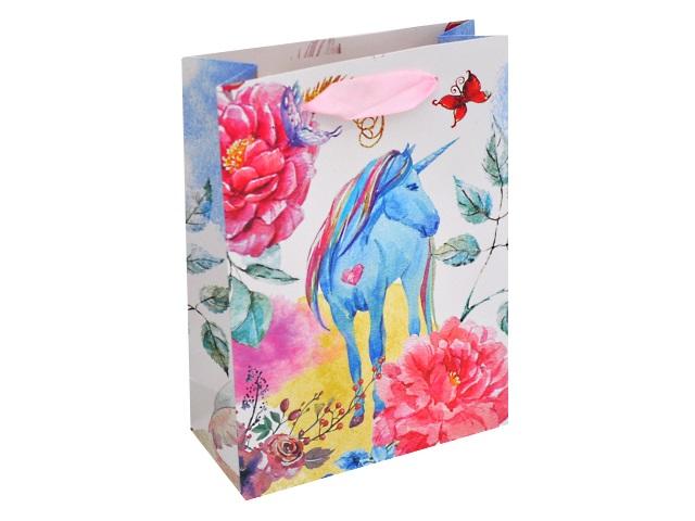 Пакет подарочный бумажный 18*23*10см Сказочный единорог Miland ПКП-1383