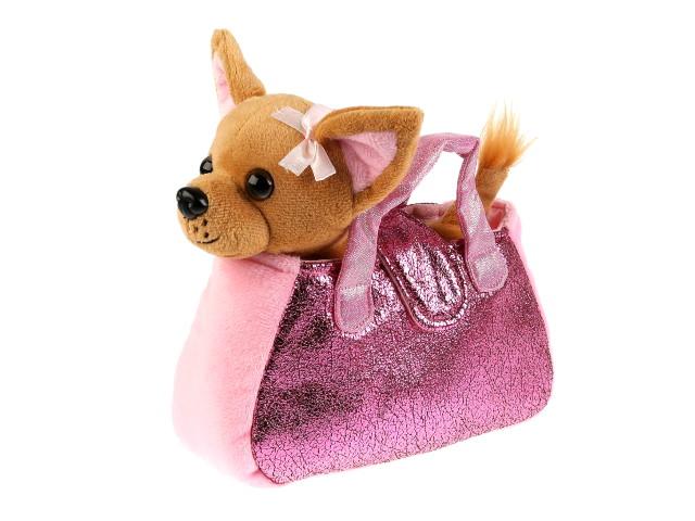 Мягкая игрушка Собака 15см в розовой сумке CT181172-19