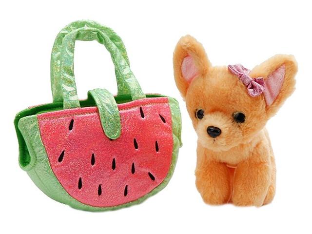 Мягкая игрушка Собака Чихуахуа 19см в сумке Арбуз CT181084-15R