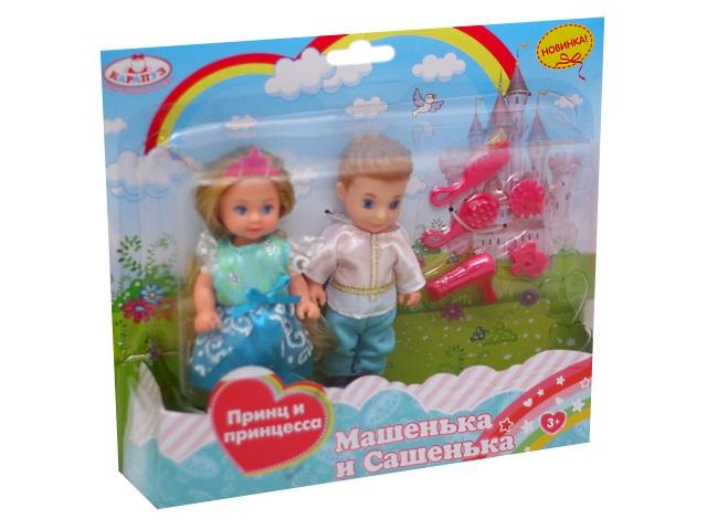 Куклы 2 шт. Машенька и Сашенька Принц и принцесса Карапуз MARY003-GB-BB