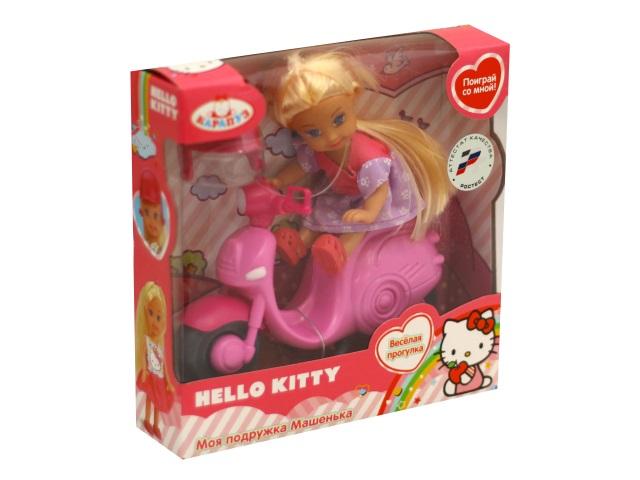 Кукла Машенька 12см со скутером Hello Kitty Карапуз MARY010X-HK