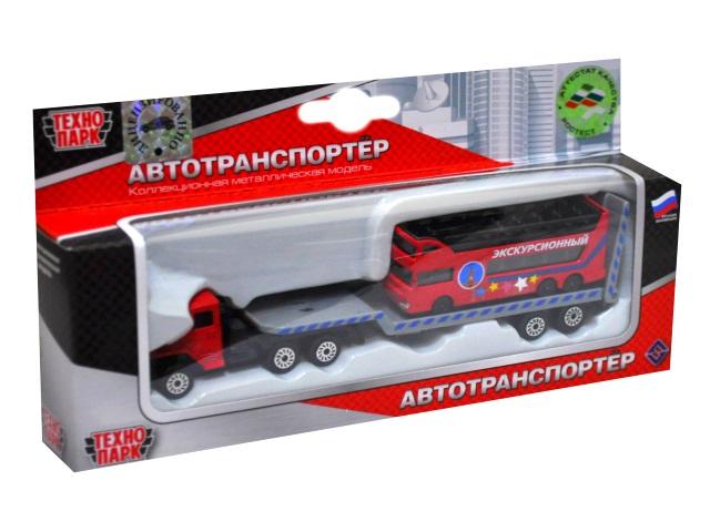 Машина металл Технопарк Урал транспортер 16см с автобусом SB-16-90WB-A