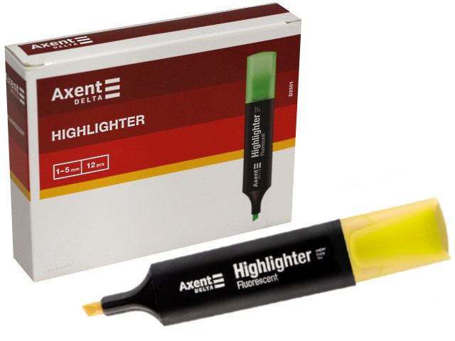 Маркер текстовый Axent Highlighter желтый скошенный 1-5мм D2501-08
