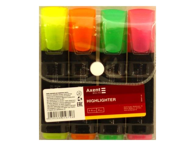 Маркеры текстовые 4 цвета Axent Highlighter скошенные 1-5мм D2501
