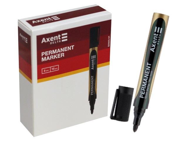 Маркер перманентный Axent черный круглый 2мм D2603-01