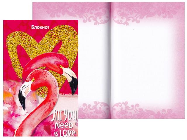 Блокнот А6 Prof Press клееный м/обложка 96л Фламинго и сердце Б96-5857