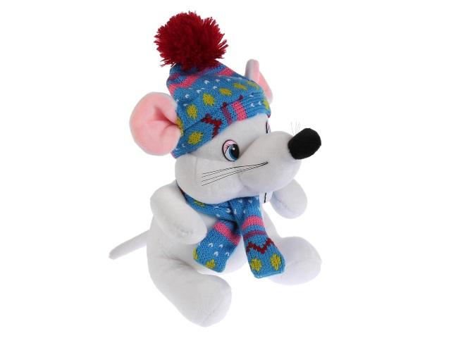 Символ года Мягкая игрушка на батарейках Мышка белая в шапке и шарфике Мульти-Пульти 20291AT