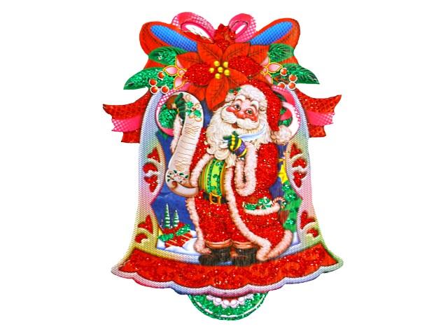 Новогодний декор Подвеска картон Колокольчик 15см Miland НУ-4304