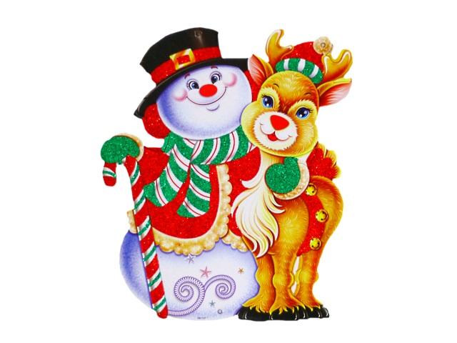 Новогодний декор Подвеска картон Снеговик и олень 29см Miland НУ-4302
