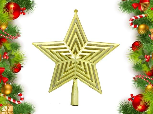 Ёлочная игрушка Верхушка Звезда 23см золотая Miland НУ-4399