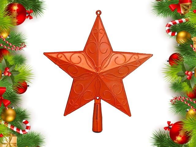 Ёлочная игрушка Верхушка Праздничная звезда 23см красная Miland НУ-4400