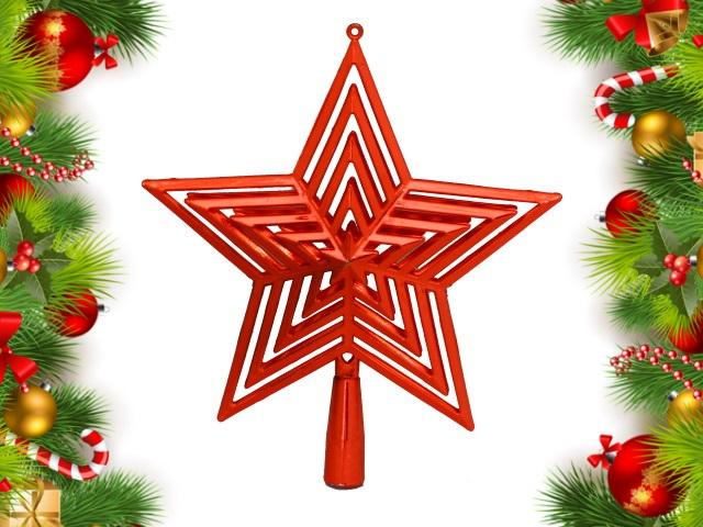Ёлочная игрушка Верхушка Звезда 23см красная Miland НУ-4398