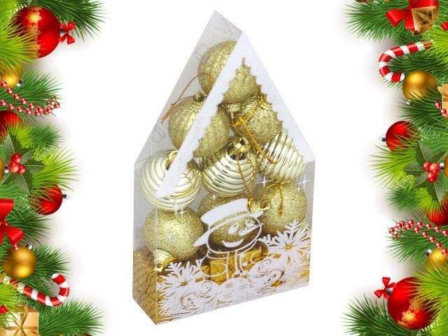 Ёлочная игрушка набор 12 шт. Красивый домик 4см золотые Miland НУ-0460