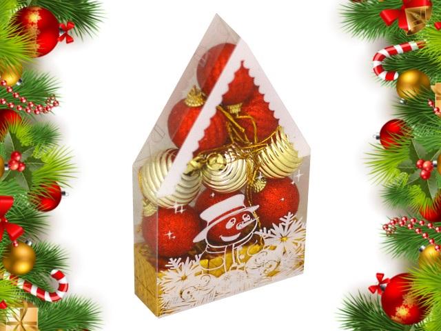 Ёлочная игрушка набор 12 шт. Красивый домик 4см золотые и красные Miland НУ-0463