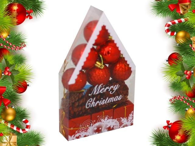 Ёлочная игрушка набор 12 шт. Новогодний домик 4 см красные Miland НУ-4411