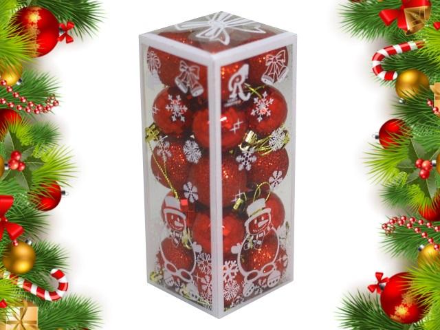 Ёлочная игрушка набор 20 шт. Шар D=4см Весёлый праздник красные Miland НУ-0466