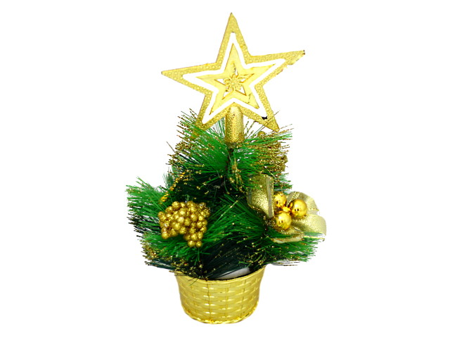 Новогодний декор Ёлка в корзинке 23см золотой декор Miland Т-4389