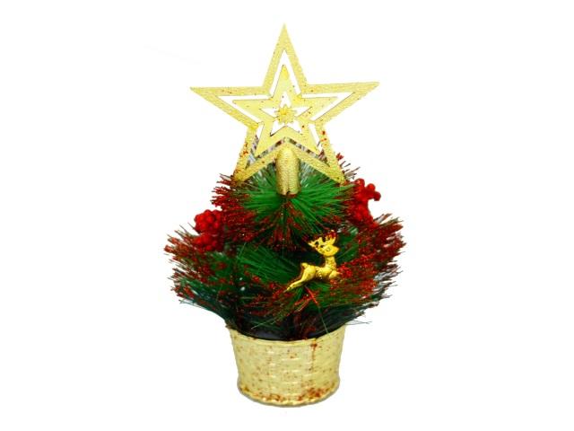 Новогодний декор Ёлка в корзинке 23см красный декор Miland Т-4387
