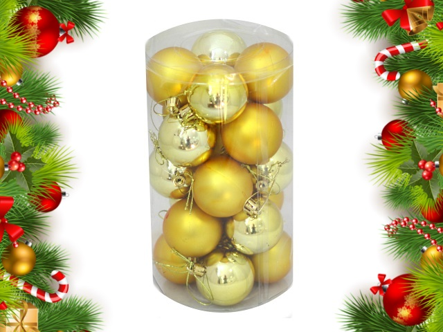 Ёлочная игрушка набор 20 шт. Шар D=5см Новогодние краски золотые Miland НУ-0401