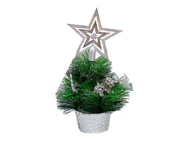 Новогодний декор Ёлка в корзинке 23см серебряный декор Miland Т-4388