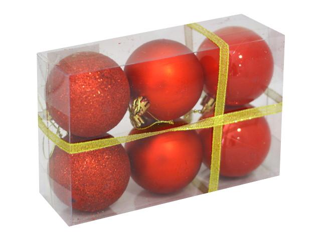 Ёлочная игрушка набор  6шт Шар D=6см Шёлк бархат люрекс красные Miland НУ-6958
