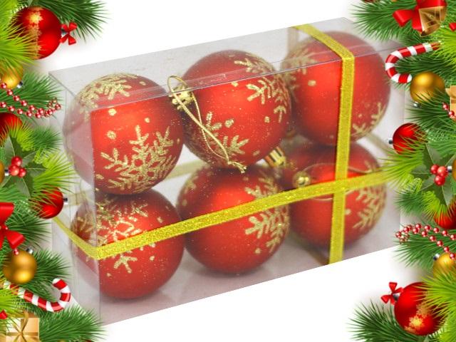 Ёлочная игрушка набор  6 шт. Шар D=6см Снежинка с узором красные Miland НУ-6954