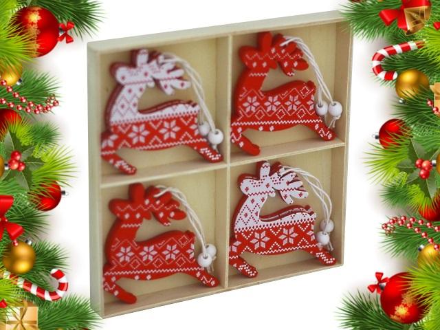 Новогодний декор Подвеска дерево  8шт Новогодние олени 7см НДУ-8399