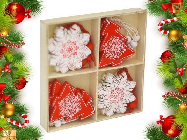 Новогодний декор Подвеска дерево 12 шт. Снежинки и ёлочки 6.5см НУ-4552