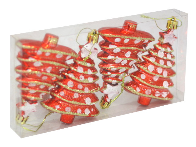 Ёлочная игрушка набор  4шт Красные ёлочки 10см Miland НУ-8353