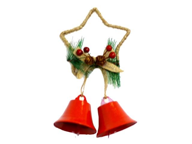 Новогодний декор Подвеска металл Звезда с колокольчиками 18см красная НДУ-8390