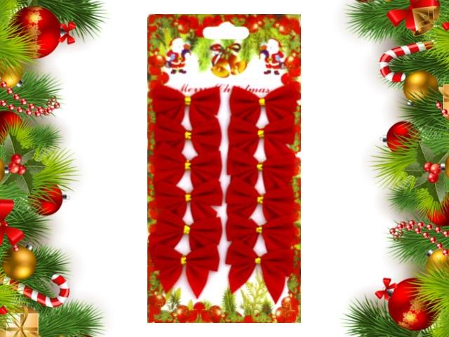 Новогодний декор Бант 12 шт. 5.5см текстиль Праздничные Miland НУ-8357